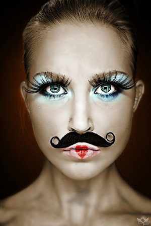 Woman with moustache
