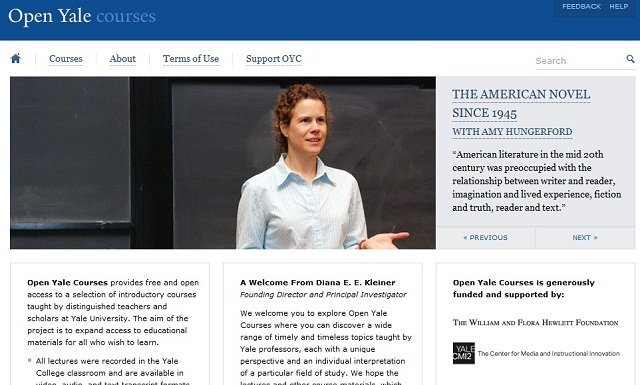 Open Yale's website front page offering online learning Courses