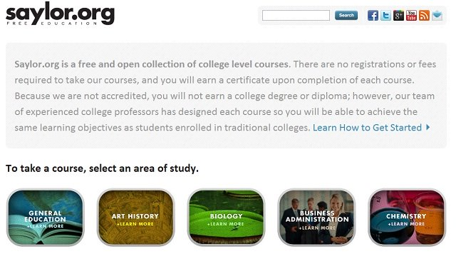 the interface of saylor.org, on of our recommended e-learning courses