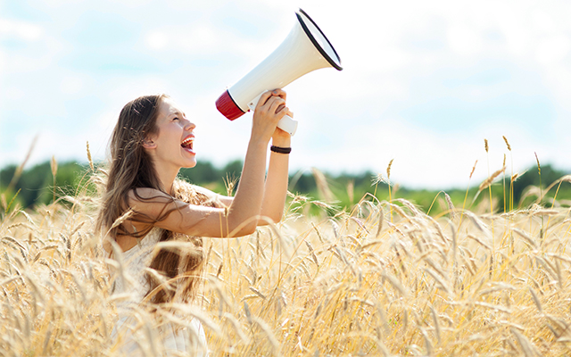 Woman in Field with Megaphone edited 10.06.15