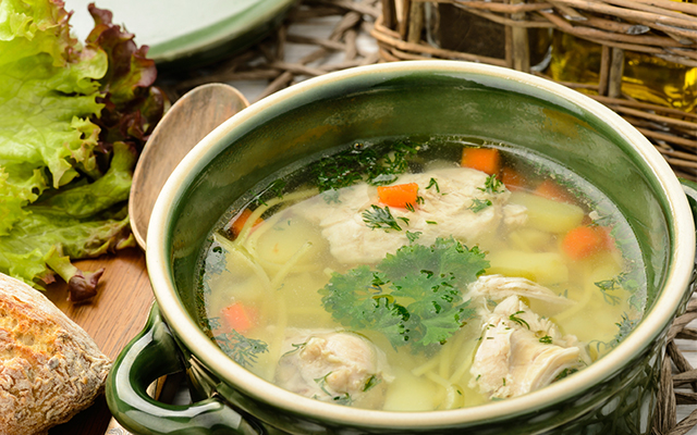 chicken soup for flu and cure a cold