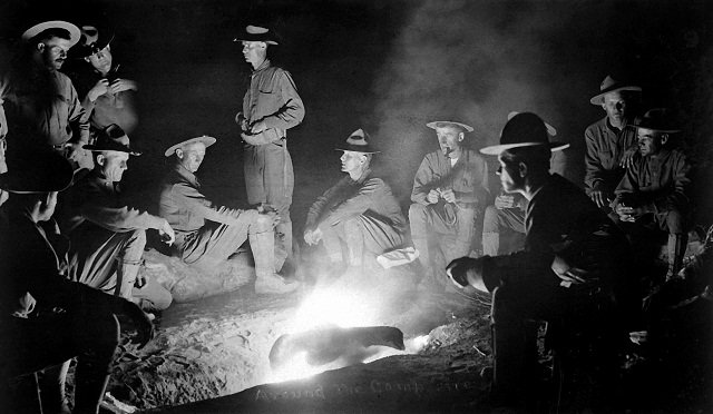 Stories around campfire
