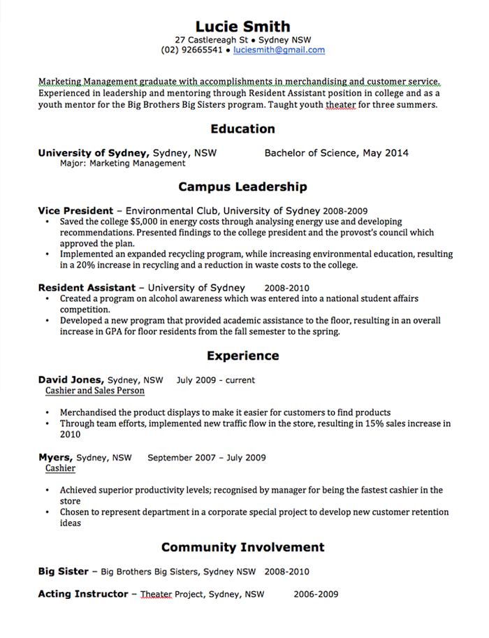 resume cv sample australia